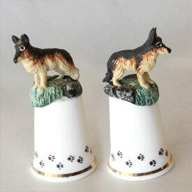 ジャーマンシェパード German Shepherd イギリス スターリング クラシック ピューター Pewter モデルトップ シンブル 指ぬき ソーイング コレクション ドッグ 犬