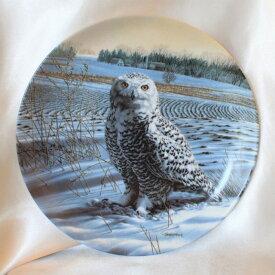 【難あり特価】 スノーイー アウル Snowy owl シロフクロウ 威厳あるフクロウの絵皿 Jim Beaudoin アメリカ ノウルズ限定発行 1989年 ステートリー オウル シリーズ オウル 【送料無料】 【中古】