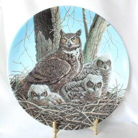 グレイト ホーン アウル Great Horned Owl アメリカ ワシミミズク 威厳あるフクロウの絵皿 Jim Beaudoin アメリカ ノウルズ限定発行 1989年 ステートリー オウル シリーズ オウル 【送料無料】 【中古】