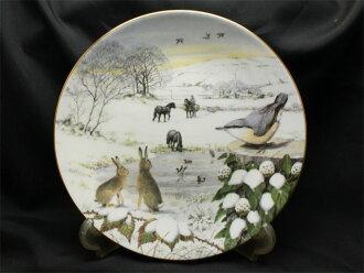 下雪,并且被在2月遮盖的盆地sunoideru 1987年限定发行带花的碟子美国富兰克林薄荷Franklin Mint Peter Banett画James Herriot句子小鸟兔子马野鸭英国的冬天礼物复古铭牌02P23Sep15 P16Sep15