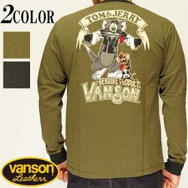 VANSON バンソン ×トムとジェリー 刺繍 ロング Tシャツ メンズ TJV-928/送料無料【バンソンから新作ロングTシャツが登場!!】