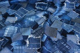 デニムパッチワーク調 ツイル生地 綿100% 生地巾110cm 日本製 【50cm以上10cm単位での販売】