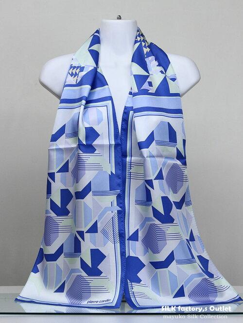 日本製シルクスカーフ/幾何調デザイナー柄正絹パーティーショール/大判ロング165cm×28cmシャリッと厚手のシルク綾織生地silk100%/madeinJapan/AB格メーカーアウトレット/わけあり/UVカットリボン結び/箱なしエコ包装品