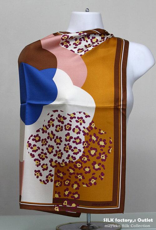日本製シルクスカーフ/幾何調デザイナー柄正絹パーティーショール/大判正方形スケア85cm×85cmしっとり薄手のシルクシフォン生地silk100%/madeinJapan/AB格メーカーアウトレット/わけあり/UVカット箱なしエコ包装品