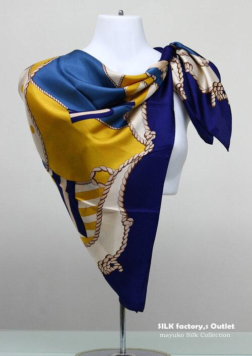 日本製シルクスカーフ/中世ビンテージ柄正絹パーティーショール/バサッと羽織れる大判正方形スケア89cm×89cmしなやか厚手のシルククレープ綾織silk100%/madeinJapan/AB格メーカーアウトレット/わけあり/箱なしエコ包装品/6000
