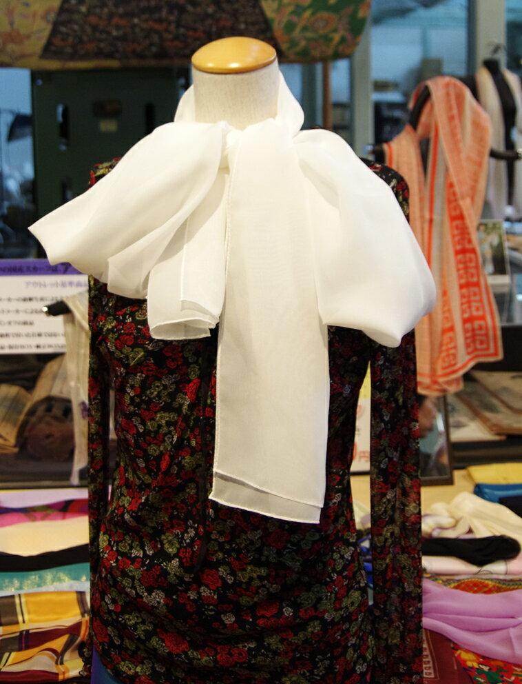 【草木染も可能】縫製後の出荷シルクシフォンの縫製済みロングの白スカーフsize35cm×200cm,silk100%北陸製の上質白生地を使用しました。日本製白のままで使う場合の黄変防止加工は1800円追加です。※加工には2週間程度かかります