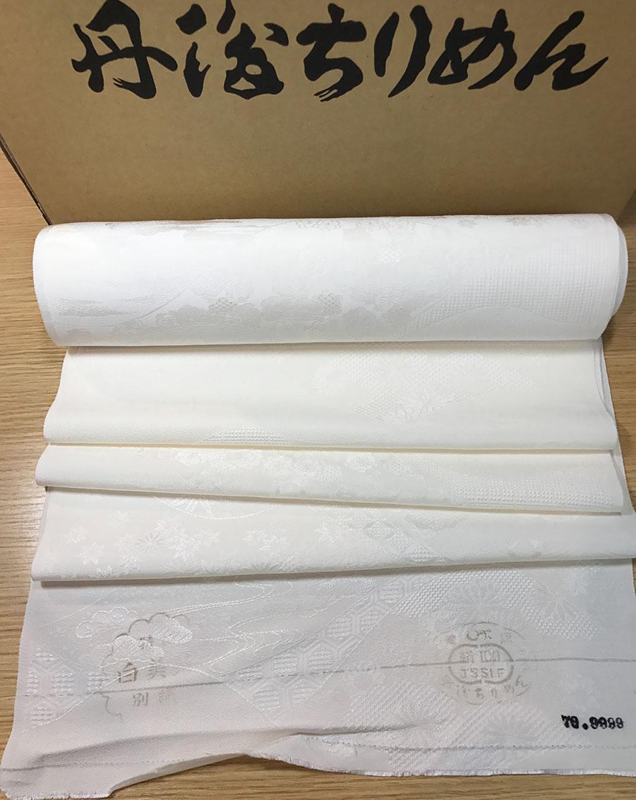 1m単位で切売します【登録商標・丹後ちりめん】正絹白生地反物/手芸パッチワークはぎれ山水切り取り地紋/希少なお値打ち生地です。紋意匠縮緬もんいしょうちりめんsilk100%AB反36cm幅日本製/シルクハギレ/草木染可/