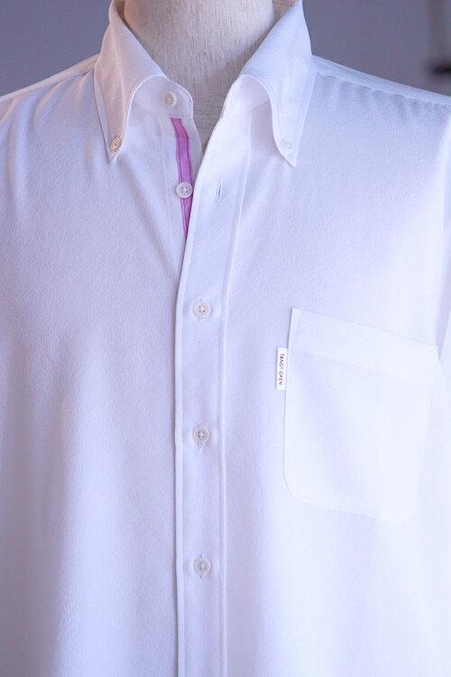 丹後一越シボちりめん正絹シルクメンズシャツボタンダウン/背中にタック付き【ハイパーガード加工済】洗濯機で洗えます/高級感あり/このまま草木染可能/日本製/silk100%クールビズ/送料無料