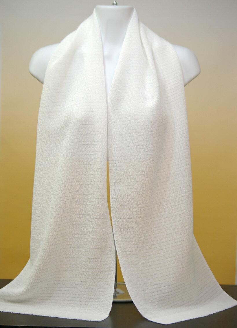 【丹後直送品】おびあげ・帯揚げ白生地縮緬A格。風合いしっとり柔らかな丹後正絹絽織ちりめんシボ生地(30cm幅×160cm)草木染めできます。白のままロングスカーフにも使えます。シルク100%、日本製500円追加でスカーフ縫製いたします。