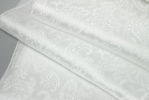 【草木染用できます】丹後ちりめんシルクチーフ/シルクサテンペイズリー織柄の縫製済み白はんかち/size45cm×45cm/silk100%絹糸で縫製しましたので綺麗に染まります。丹後ちりめん歴史館製織の白生地