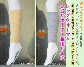 【ウール混】裏地がシルクのひざサポーター兼用レッグウォーマ。シルクの効果で関節を保温します男女兼用のフリーサイズひざ回り適合サイズ太さ22cm〜48cm。日本製made in japan/冷え取り/関節痛