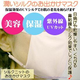 花粉ウイルス対策【男女兼用】シルクニットのお出かけマスク外側は伸縮シルクニット。内側には通気性の良いシルクメッシュ生地♪アジャスター付きのフリーサイズ/長時間の快適に着用できます。silk100%中国製/UVカット/美容保湿/