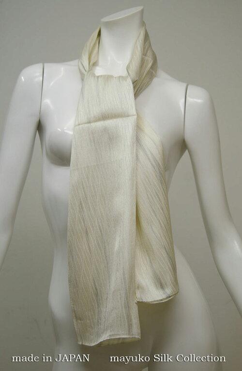 魅惑の色彩、絹彩の美日本の色です。【登録商標・丹後ちりめん】シルク100%バサッと羽織れる正絹ショール大判ロングサイズ38cmx160cm日本製京丹後市峰山町の吉村商店製造品ギフト包装無料