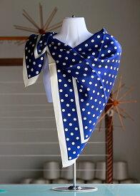 日本製シルクスカーフ/使いやすい水玉柄正絹パーティーショール/バサッと羽織れる大判正方形スケア88cm×88cmしっとり厚手で光沢のある16匁シルク綾織silk100%/made in Japan/AB格メーカーアウトレット/わけあり/箱なしエコ包装品/6000