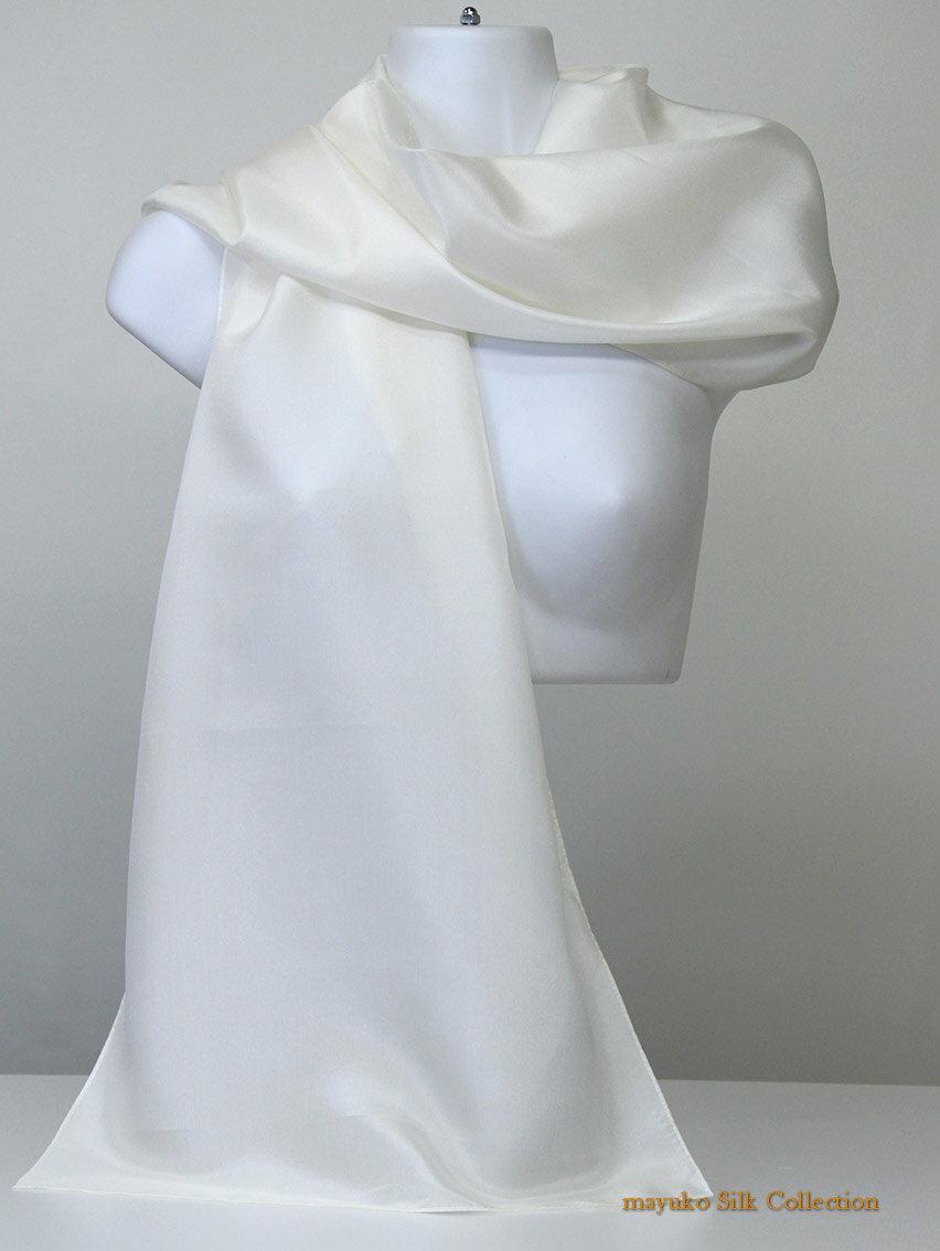 AB格点汚れ、黄変難アリ【問題なく草木染できます】正絹シルクサテンクレープ生地縫製済み大判白スカーフsize 35cm×150cm,silk100%差し支えない程度の点汚れ難/しなやかな12匁軽め/日本製/わけあり/生成り色/枕カバー可/洗顔パフ/浴用タオル可