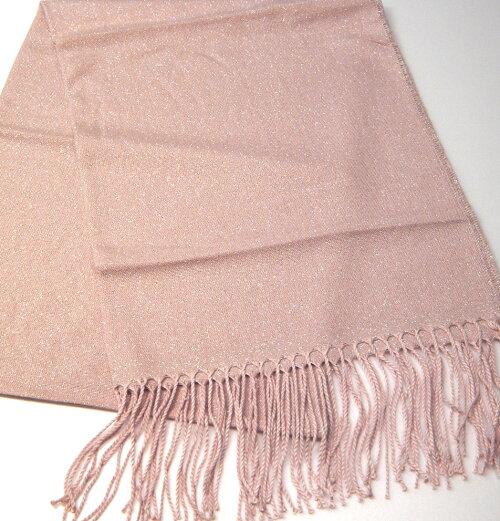 暖かい秋冬ロングストール(素材:化繊)バサッと羽織れる超大判ロングショール。160cm×62cmサイズ,化繊100%の商品です。ラメ入りのピンク