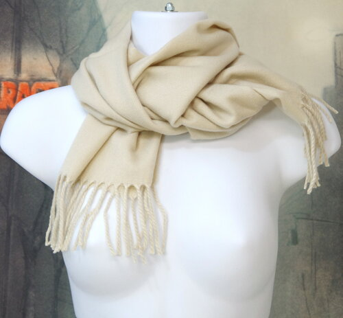 暖かい秋冬ロングストール(素材:化繊)あったか厚手のロングショール。140cm×30cmサイズ,化繊100%の商品です。カラー:ベージュ