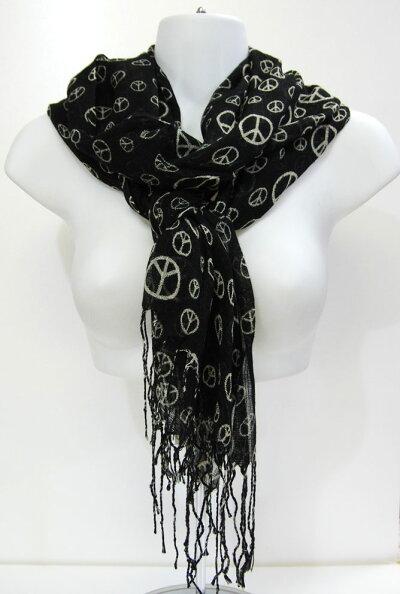 羽織れるロングストール(素材:レーヨン100%)季節を問わず使える薄めの男女兼用ロングショール。165cm×65cmサイズ,レーヨン100%の商品です。カラー:ブラック中国製