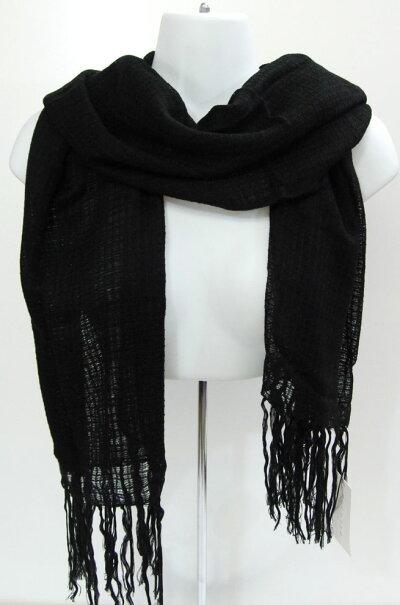 羽織れるロングストール(素材:アクリル100%)季節を問わず使える薄めの男女兼用ロングショール。180cm×65cmサイズ,アクリル100%の商品です。カラー:ブラック中国製