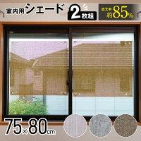 窓にピタッとテキスタイル風遮光シェード75×80cm2枚組ショート室内用遮光UVカット遮熱サイズ調整可能【送料無料】