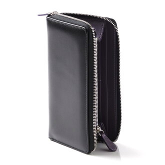 Ettinger ETTINGER round fastener long wallet [with the coin purse] royal collection BLACK X PURPLE black system st2051ejr men