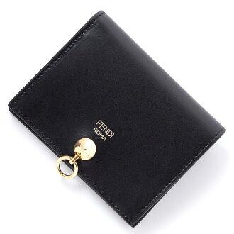 有芬迪FENDI對開錢包硬幣袋的黑色女士皮革書皮革禮物禮物黑色黑8m0387 sme f0kur