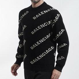バレンシアガ BALENCIAGA クルーネック セーター ブラック メンズ ニット カジュアル トレンド 555481 t1471 1070 ALLOVER LOGO CREWNECK KNIT【あす楽対応_関東】【返品送料無料】【ラッピング無料】