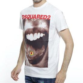 【アウトレット】ディースクエアード DSQUARED2 クルーネック Tシャツ ホワイト メンズ カジュアル トップス インナー 半袖 s74gd0564 s22427 100 WHITE T-SHIRT WITH PHOTOGRAPHIC PRINT【返品送料無料】【ラッピング無料】【20190726】[outnew]