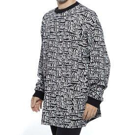 バレンシアガ BALENCIAGA クルーネック 長袖Tシャツ ブラック メンズ デザイン カットソー カジュアル 大きいサイズあり 583113 tfv48 1070 WAVE LOGO TEE【返品送料無料】【ラッピング無料】