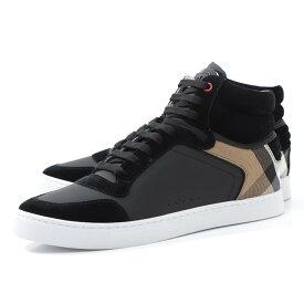 バーバリー BURBERRY スニーカー ブラック メンズ シューズ 靴 カジュアル 大きいサイズあり 4054019 black LEATHER & HOUSE CHECK HIGHT TOP SNEAKER【返品送料無料】【ラッピング無料】