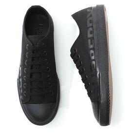 バーバリー BURBERRY スニーカー ブラック メンズ シューズ 靴 カジュアル 大きいサイズあり 8015655 black LOGO PRINT COTTON GABARDINE SNEAKERS【返品送料無料】【ラッピング無料】