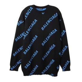 バレンシアガ BALENCIAGA セーター ブラック メンズ 625970 t3178 1165 ALLOVER LOGO CREWNECK【あす楽対応_関東】【返品送料無料】【ラッピング無料】