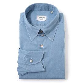 【アウトレット】【ラスト1点】【訳あり】ボリエッロ BORRIELLO タブカラー シャツ ブルー メンズ tab 9094 2 TAB SLIM FIT【あす楽対応_関東】【返品交換不可】
