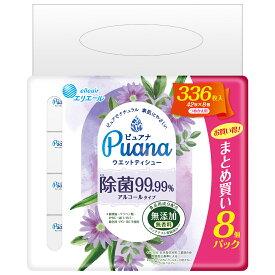 (まとめ買い 8パック)エリエール ピュアナ (Puana) ウエットティシュー 除菌 99.99% アルコール タイプ つめかえ用 42枚×8パック 日本製 ウエットティシュ 詰め替え8pac