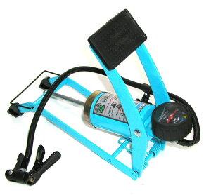 シングルフットポンプ ブルー(英/米/レジャー) 【自転車】【空気入れ】【エアーポンプ】