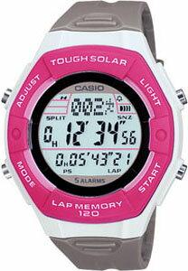 カシオ スポーツウォッチ ランニングウォッチ 5気圧防水 ソーラー デジタル レディース 腕時計 SD10AUP-703PNK レディース LEDライト付き 1/100秒ストップウォッチ 120ラップ ソーラー CASIO マラソン ランニング 時計 ランナー ウォッチ