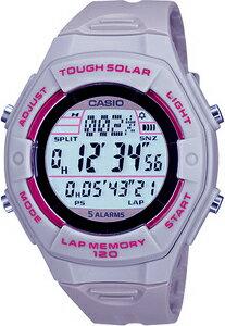 ランニングウォッチ カシオ スポーツウォッチ 5気圧防水 ソーラー デジタル レディース 腕時計(SD10AUP-704GRY)1/100秒 ストップウォッチ 120ラップ LEDライト付き CASIO マラソン ランニング 時計 ランナー ウォッチ