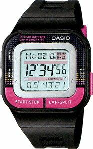 カシオ スポーツウォッチ 5気圧防水 レディース デジタル 腕時計 かわいい (SD11FBP-202BKPK) 距離計測機能 ストップウォッチ 60ラップ 10年電池 LEDライト付き ランニングウォッチ CASIO 海外限定 マラソン ランニング 時計 ランニングウオッチ
