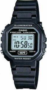 カシオ スポーツウォッチ 日常生活防水 レディース デジタル 腕時計(LA11AUP-601BLK)アラーム カレンダー ストップウォッチ 5年電池 LEDライト付き ランニングウォッチ CASIO 海外限定 マラソン ランニング 時計 ランナー ウォッチ