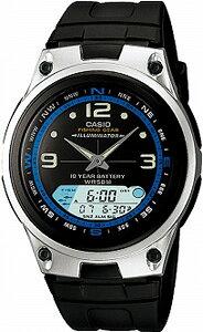 カシオ スポーツウォッチ 5気圧防水 デジタル アナログ 腕時計 (AW09P-6603BLK) 月齢・ムーンデータ ストップウォッチ カウントダウンタイマー LED ライト付き フィッシングギア 魚釣り ランニン