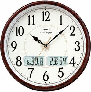 カシオ 電波時計 壁掛け時計 デジタル アナログ 掛け時計 おしゃれな 木目調デザイン ブラウン 茶 (CL11AU01) シンプル 見やすい アラビア数字 ホワイト 白 文字板 日付 曜日 カレンダー 温度 湿度計付き CASIO 大型液晶 電波掛時計 ウォールクロック