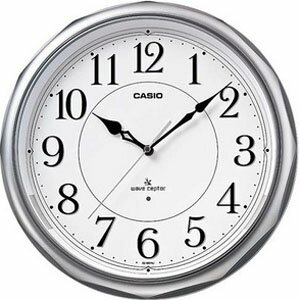 カシオ 電波時計 壁掛け時計 アナログ 掛け時計 おしゃれな ホワイト 白 文字盤 アラビア数字 シルバー 銀 ケース(CL11OC08SLV)夜 見やすい LED ライト付き CASIO 秒針 音がしない 秒針停止機能 電波掛け時計 静かな ウォールクロック