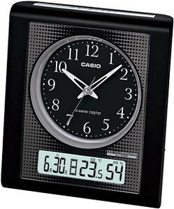 カシオ 電波時計 置時計 デジタル アナログ 目覚まし時計 おしゃれな ブラック 黒 見やすい アラビア数字 (CL11OC01) スヌーズ アラーム 日付 曜日 カレンダー 温度 湿度計 秒針 音がしない 秒針