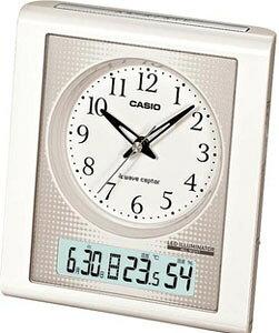 カシオ 電波時計 置時計 デジタル アナログ 目覚まし時計 おしゃれな ホワイト 白 (CL11OC02) 見やすい アラビア数字 日付 曜日 カレンダー アラーム スヌーズ 温度 湿度計 秒針 音がしない 秒針