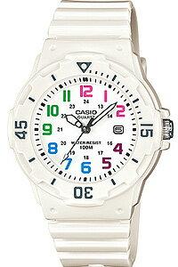 カシオ スポーツウォッチ 10気圧防水 アナログ 腕時計 レディース 日付カレンダー かわいい ホワイト 白 (LR12FBP-603) 回転ベゼル 24時間表示 アラビア数字 ランニングウォッチ CASIO 海外限定 マラソン ランニング 時計 ダイバーズウォッチ