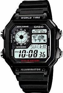 カシオ スポーツウォッチ 10気圧防水 メンズ デジタル 腕時計(AE12SPP-301BLK)ストップウォッチ カウントダウンタイマー 10年電池 LEDライト付き ランニングウォッチ CASIO 海外限定 マラソン ランニング 時計 ランナー ウォッチ