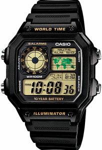 カシオ スポーツウォッチ 10気圧防水 メンズ デジタル 腕時計(AE12SPP-302BLK2)ストップウォッチ カウントダウンタイマー 10年電池 LEDライト付き ランニングウォッチ CASIO 海外限定 マラソン ランニング 時計 ランナー ウォッチ