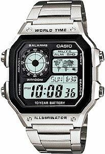 カシオ スポーツウォッチ チープカシオ チプカシ 10気圧防水 メンズ デジタル 腕時計 メタル ステンレスバンド(AE12SPP-303MTL)ストップウォッチ カウントダウンタイマー LEDライト付き ランニングウォッチ CASIO 海外限定 マラソン ランニング 時計