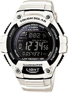 ランニングウォッチ カシオ スポーツウォッチ 10気圧防水 ソーラー メンズ デジタル 腕時計 おしゃれな ホワイト 白 (WSD13AUP-703WHT) 120ラップ ストップウォッチ カウントダウンタイマー LEDライ