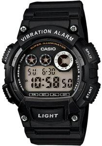 カシオ スポーツウォッチ 10気圧防水 メンズ デジタル 腕時計 ブラック 黒 (W13FBP-401BLK) バイブ 振動アラーム ストップウォッチ カウントダウンタイマー LEDライト付き ランニングウォッチ カ